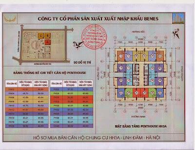 Sơ đồ thiết kế tầng penhouse chung cư hh3a Linh Đàm