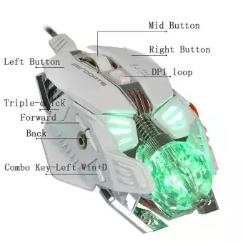 FashionieStore mouse ZERODATE X600 2500DPI Optical Wired Gaming Mechanical Mouse For Tablet Laptop WH