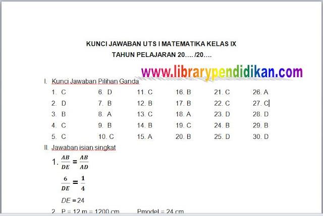 Kunci Jawaban UTS Matematika SMP/MTs Kelas IX (9) Semester Ganjil , librarypendidikan.com