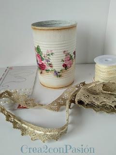 Reciclaje-latas-decopage-shabby-chic-vintage-Crea2-con-pasión-flores-y-pátina