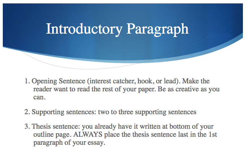 writing an introduction paragraph with a thesis English composition 1 you might try writing a few different introductions some young students are taught to begin an introduction with a thesis statement.