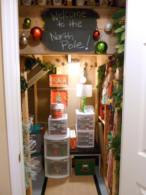 5. North Pole Wonderland: No room in your house for a gift wrapping station? I love how Carmel takes advantage of the space under her basement stairs to store ALL of her Christmas decor- including Christmas gift wrapping and bows.