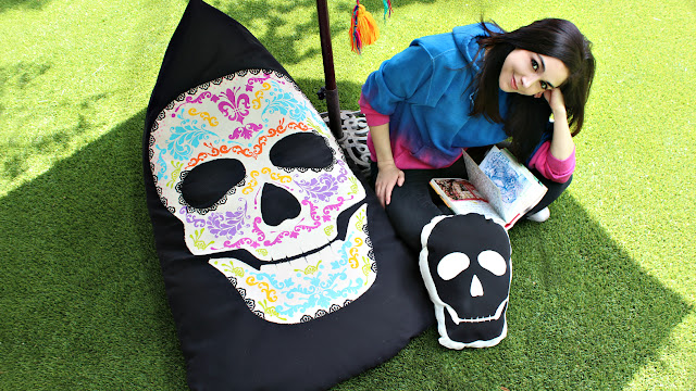 Mark Montano Sugar Skull Beanbag Chair And Skull Pillow