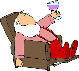 Clipart image of Santa relaxing in a chair with a glass of wine