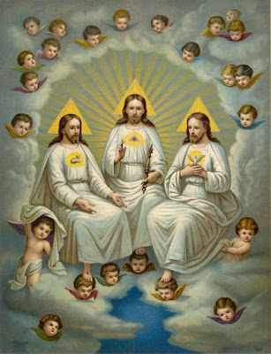 Catholic diagram of the TRINITY FAITH. Notice there are THREE SEPARATE beings together which means there are THREE SEPARATE GODS, and not ONE GOD.