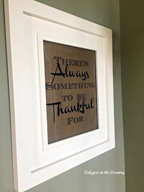 Thankful sign in beadboard frame