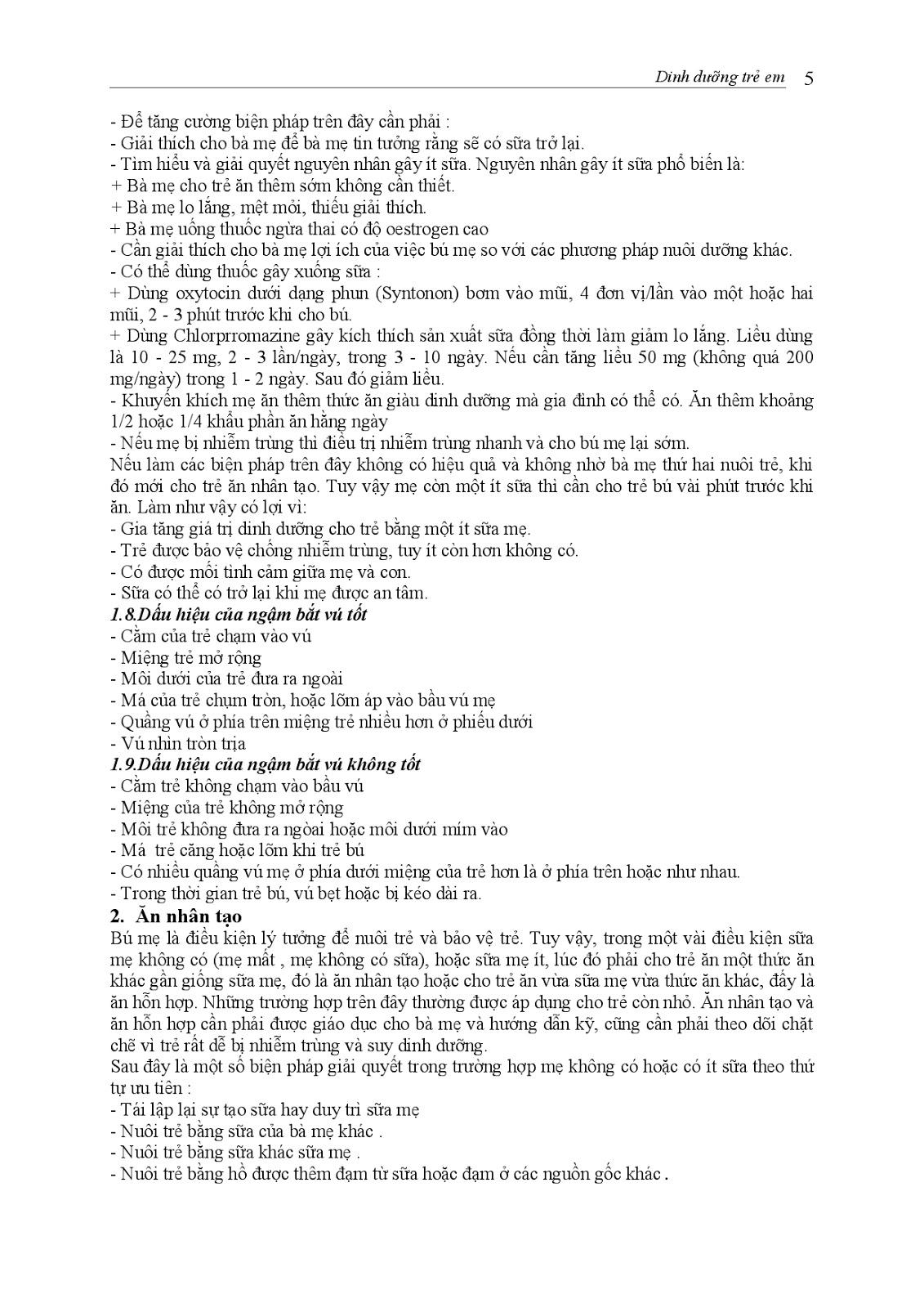 Trang 5 sach Bài giảng Nhi khoa I (Nhi khoa cơ sở - Nhi dinh dưỡng) - ĐH Y Huế