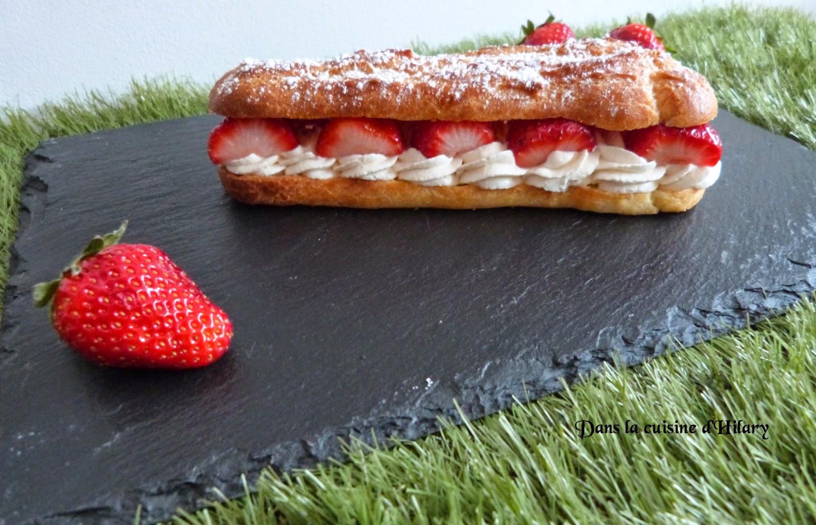 Éclairs chantilly mascarpone et fraises