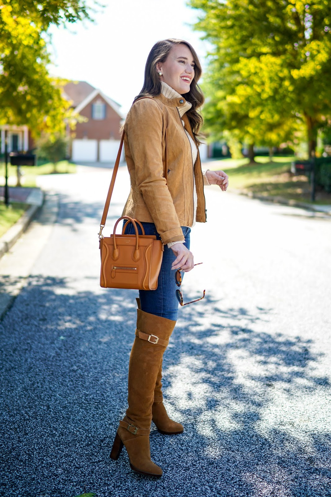 Suede Boots, Suede Jacket, Leather Handbags, Fall Outfit