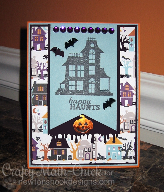 Haunted House Halloween Card by Crafty Math-Chick| Spooky Street stamp set by Newton's Nook Designs #newtonsnook