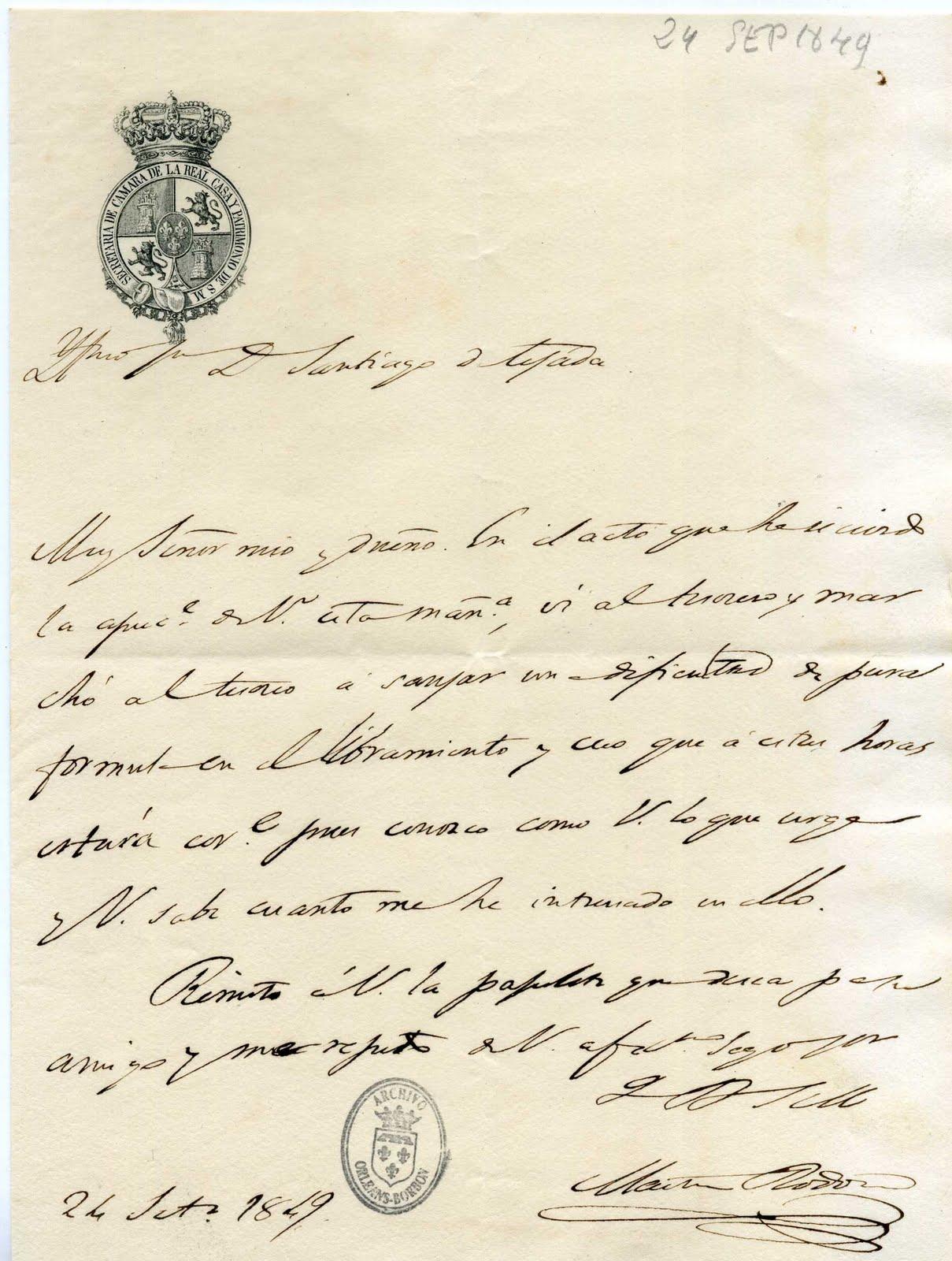 Resultado de imagen de cartas isabel ii Academia de la Historia de Madrid