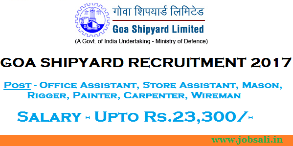 Goa Shipyard vacancy, government jobs in goa, goa shipyard advertisement