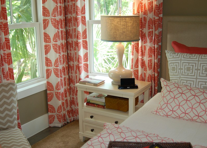 coral colored curtains closed