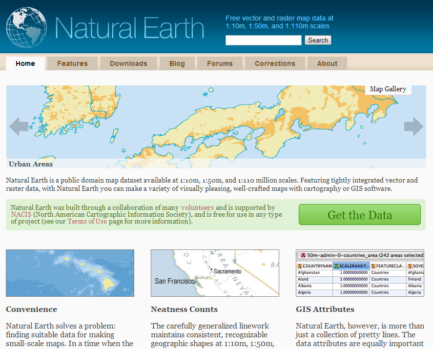 under the raedar: Natural Earth for GIS data
