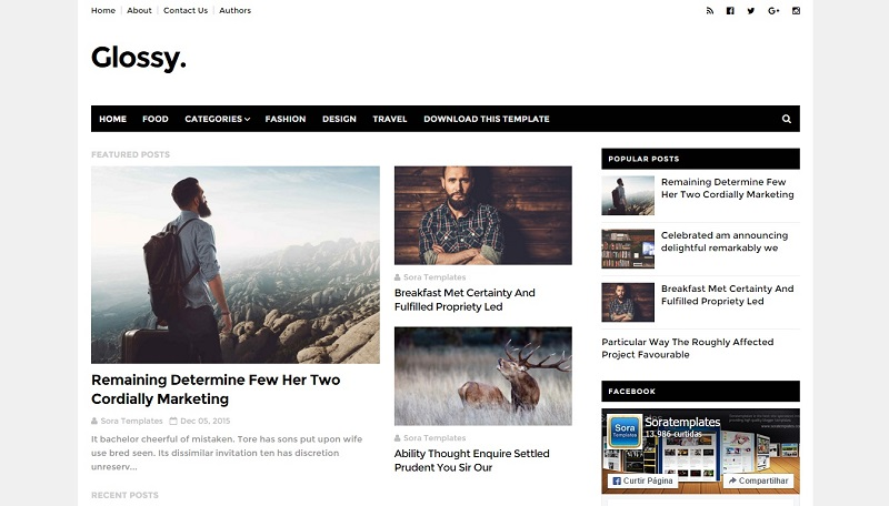Download - Glossy - Responsive News, Magazine Blogger Template