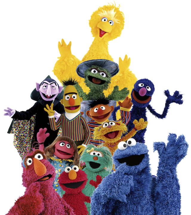 'Sesame Street' Muppets in rough pyramid shape: Big Bird, Oscar the Grouch, Count von Count, Bert, Ernie, Zoe, Grover, Telly Monster, Prairie Dawn, Elmo, Rosita, and Cookie Monster