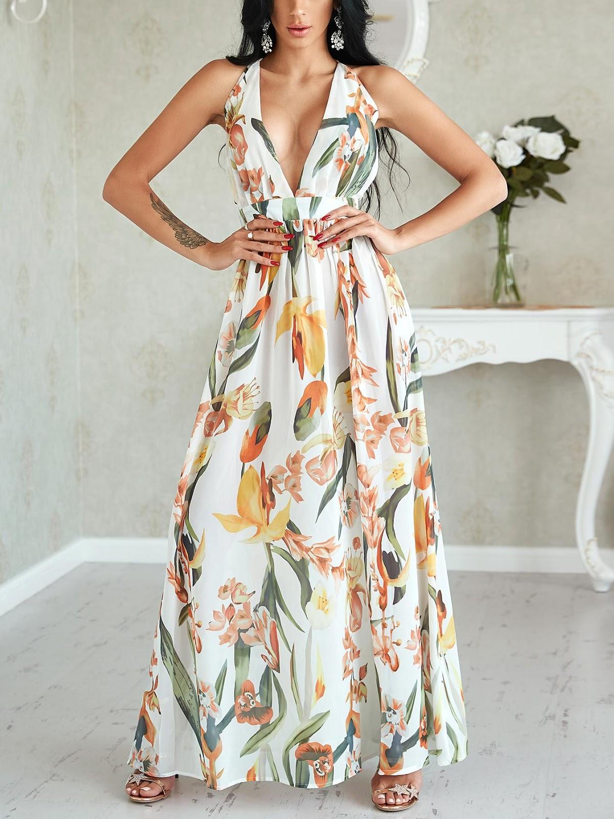 Floral Deep V Neck Backless Maxi Dress 02