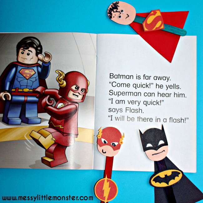 Superhero puppet craft for kids to accompany the LEGO superhero phonics books .  FREE PRINTABLE Batman, Superman, Spiderman, Ironman, Flash, Captain America masks and badges.