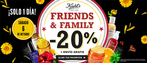 Oferta Kiehls Friends and family Octubre 2018