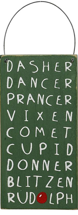 CREATIVE CO-OP 'Reindeer Names' Wood Sign