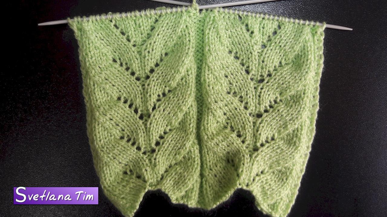 Узоры с листьями и цветами для вязания спицами 16