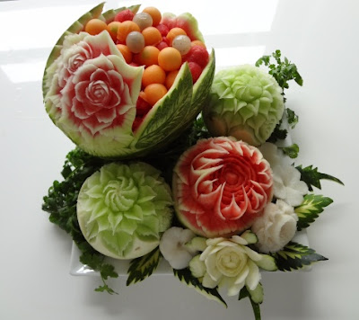 carved fruit and watermelon