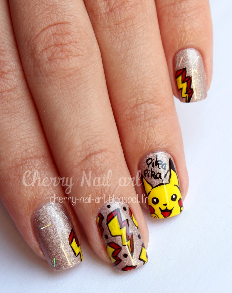 nail art pokemon pikachu