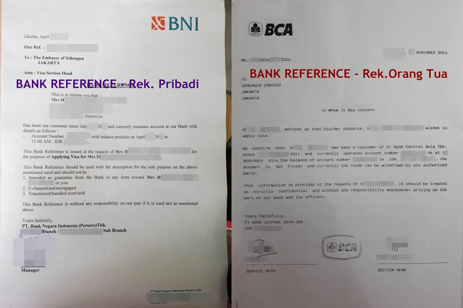 Surat Referensi Bank Bca Untuk Visa Schengen - Bagi Contoh ...