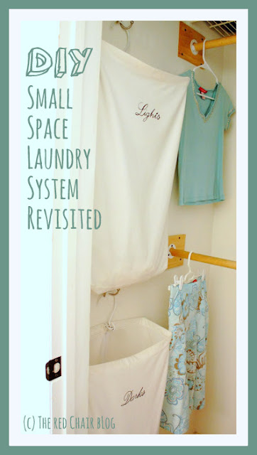 DIY small space laundry system using hanging laundry bags from The Red Chair Blog