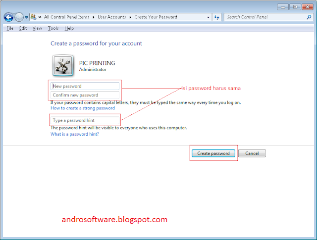 gambar cara memberi password hint windows 7