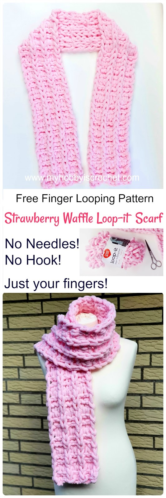 Strawberry Waffle - Loop it Scarf - Free Finger Looping Pattern