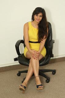 Actress Harshika Poonacha Stills in Yellow Short Dress at Appudala Ippudila Movie Promotions  0090