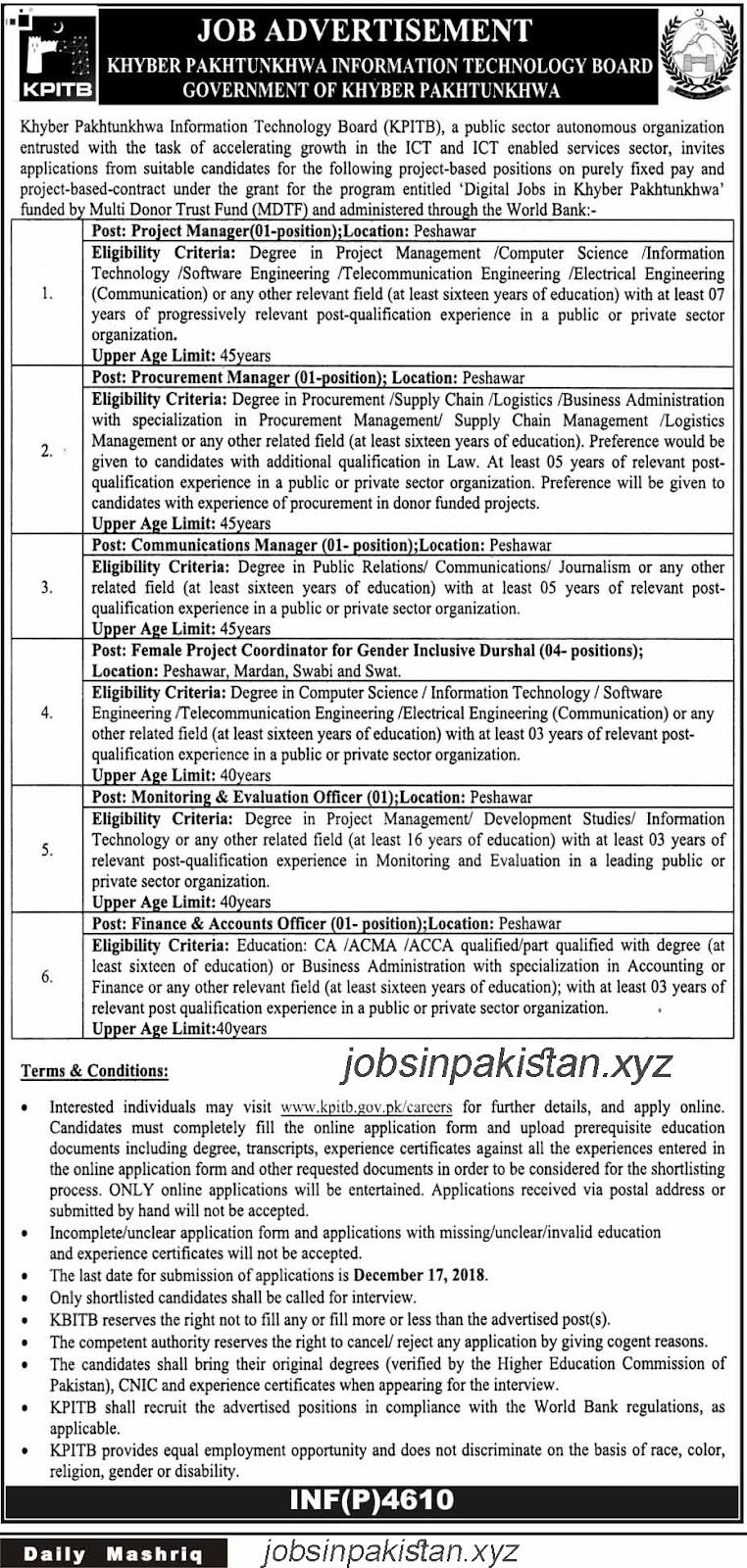 Advertisement for Khyber Pakhtunkhwa Information Technology Board Jobs 2018