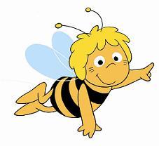 Foto de la abeja Maya en pleno vuelo