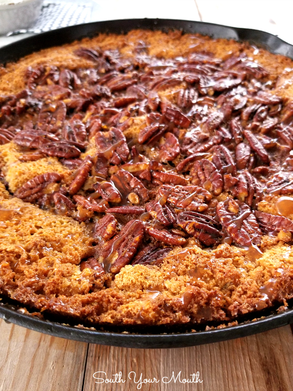 Pecan Cornbread Cobbler | A pecan cobbler recipe made with cornbread for a rustic, sweet, Southern dessert!