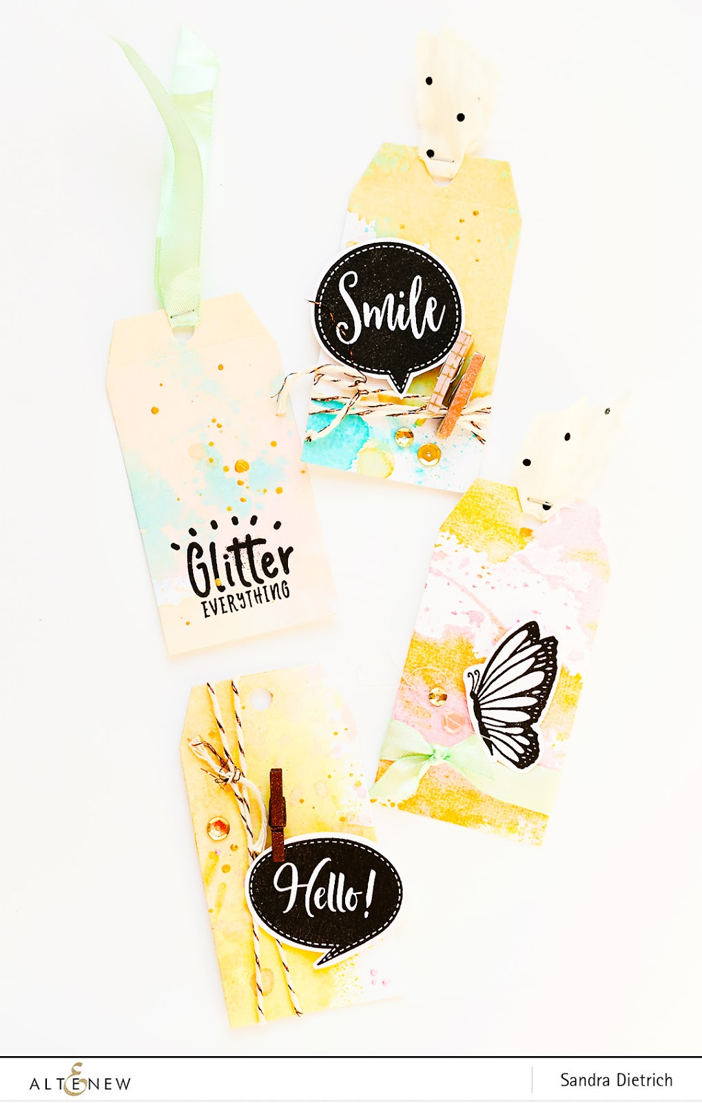 Altenew | Video Tutorial with Ink Sprays | DIY Background for Gift Tags