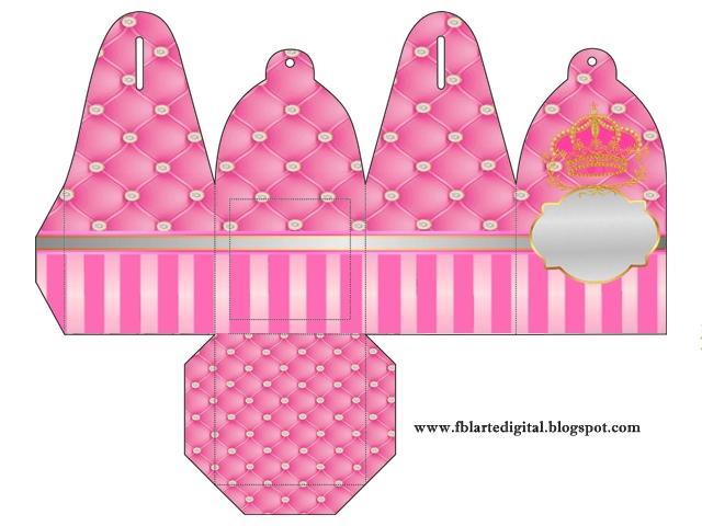 Caja para cupcakes, chocoltes o golosinas de  Corona Dorada en Fondo Rosa con Brillantes.