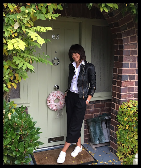 My Midlife Fashion, Zara leather biker jacket, Massimo Dutti classic white shirt, great plains elly wool flannel culottes, mango white leather trainers