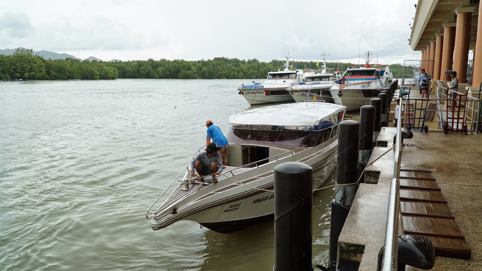 Waiting for the deckhands to prep our speedboat to Koh Lipe