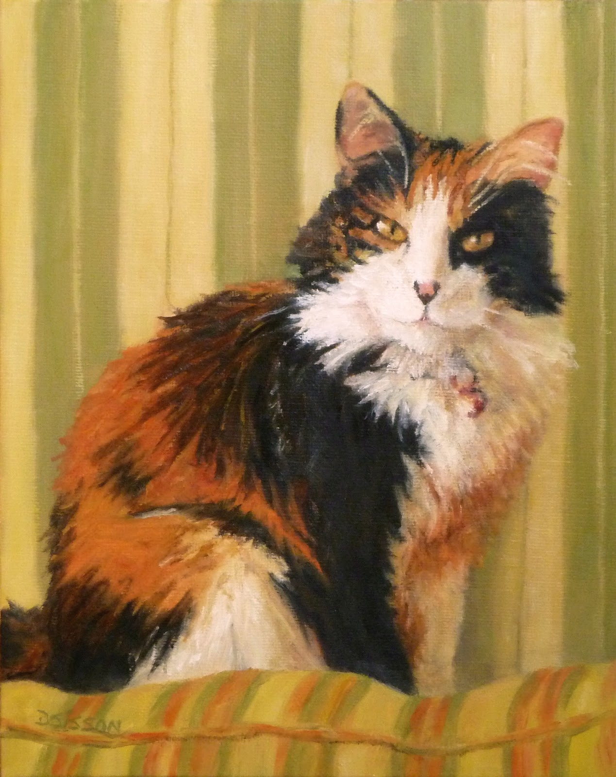 Daily Painting Projects: Calico Softness Oil Painting Cat ...