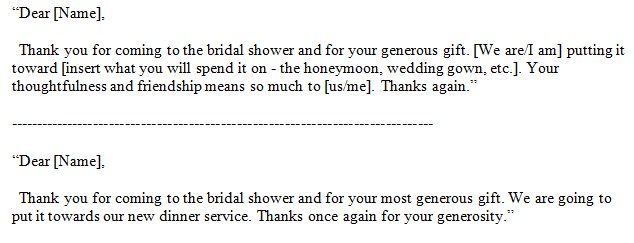 thank you bridal shower wording for gift certificate