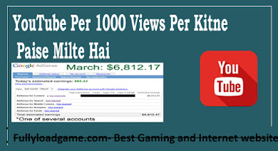 YouTube Per 1000 Views Per Kitne Paise Milte Ha