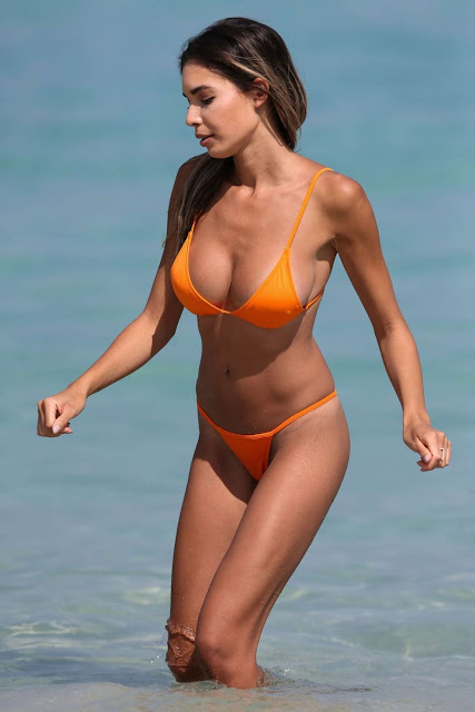Jasmine Tosh in Orange Bikini in Miami