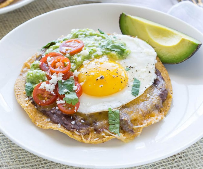 Huevos Rancheros Tostadas With Avocado Salsa Verde