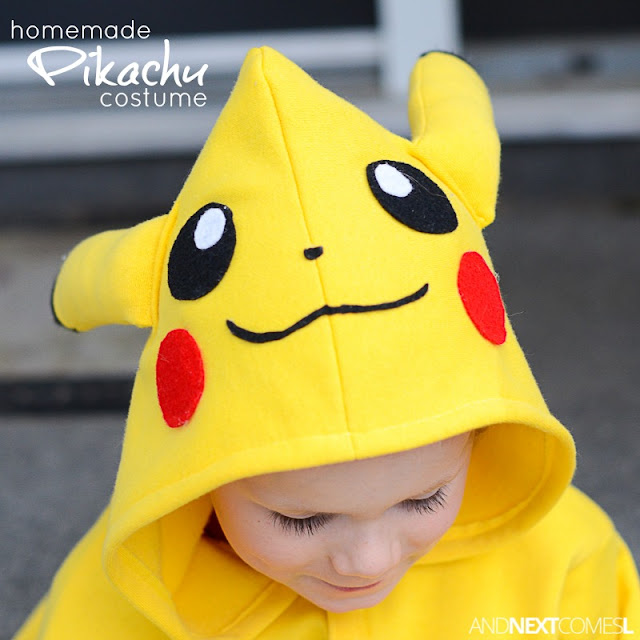 How to make a homemade Pikachu Halloween costume for kids from And Next Comes L