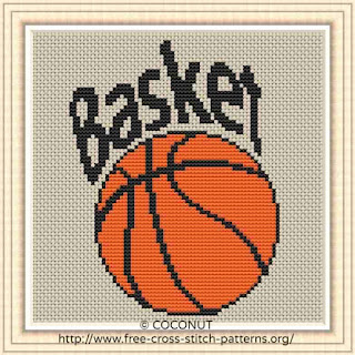 BASKETBALL, FREE AND EASY PRINTABLE CROSS STITCH PATTERN