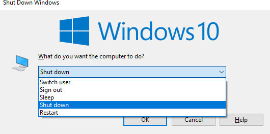 Shutdown laptop di Windows 10