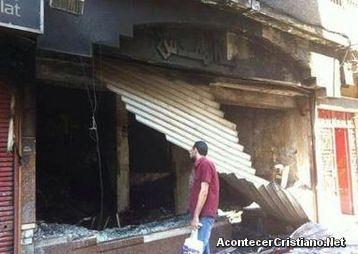 Librería de la Sociedad Bíblica de Egipto quemada