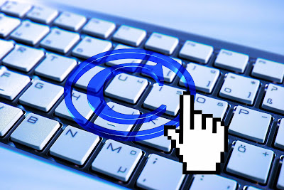 copyright symbol over a keyboard