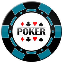 light blue and black poker chip